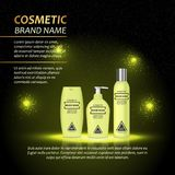 3D realistic cosmetic bottle ads template. Cosmetic brand advertising concept design with abstract glowing lights and sparkles bac Stock Photo