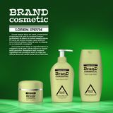 3D realistic cosmetic bottle ads template. Cosmetic brand advertising concept design with abstract glowing waves.  Royalty Free Stock Photo