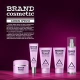 3D realistic cosmetic bottle ads template. Cosmetic brand advertising concept design with abstract glowing waves Stock Image