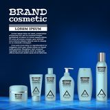 3D realistic cosmetic bottle ads template. Cosmetic brand advertising concept design with abstract glowing waves Royalty Free Stock Photos