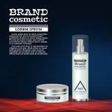 3D realistic cosmetic bottle ads template. Cosmetic brand advertising concept design with abstract glowing waves.  Stock Photos