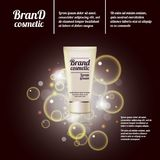3D realistic cosmetic bottle ads template. Cosmetic brand advertising concept design with bubbles and sparkles.  Stock Photo