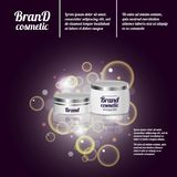3D realistic cosmetic bottle ads template. Cosmetic brand advertising concept design with bubbles and sparkles.  Royalty Free Stock Images