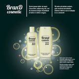 3D realistic cosmetic bottle ads template. Cosmetic brand advertising concept design with bubbles and sparkles.  Royalty Free Stock Photo