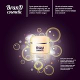 3D realistic cosmetic bottle ads template. Cosmetic brand advertising concept design with bubbles and sparkles.  Stock Photography