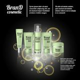 3D realistic cosmetic bottle ads template. Cosmetic brand advertising concept design with bubbles and sparkles Stock Photo