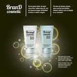 3D realistic cosmetic bottle ads template. Cosmetic brand advertising concept design with bubbles and sparkles Royalty Free Stock Photography