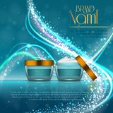 3D realistic cosmetic bottle ads template. Cosmetic brand advertising concept design with glitters and bokeh background.  Royalty Free Stock Photography