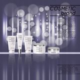 3D realistic cosmetic bottle ads template. Cosmetic brand advertising concept design with glitters and bokeh background.  Stock Images