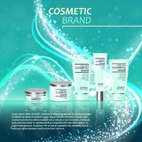 3D realistic cosmetic bottle ads template. Cosmetic brand advertising concept design with glitters and bokeh background.  Stock Photo