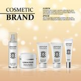 3D realistic cosmetic bottle ads template. Cosmetic brand advertising concept design with glitters and bokeh background.  Stock Photos