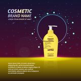 3D realistic cosmetic bottle ads template. Cosmetic brand advertising concept design with glitters and sparkles abstract sky backg. Round Royalty Free Stock Photos
