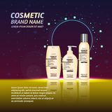 3D realistic cosmetic bottle ads template. Cosmetic brand advertising concept design with glitters and sparkles abstract sky backg. Round Stock Photos