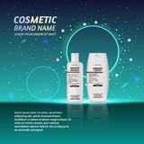 3D realistic cosmetic bottle ads template. Cosmetic brand advertising concept design with glitters and sparkles abstract sky backg. Round Royalty Free Stock Images