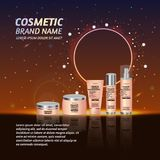 3D realistic cosmetic bottle ads template. Cosmetic brand advertising concept design with glitters and sparkles abstract sky backg. Round Royalty Free Stock Photography