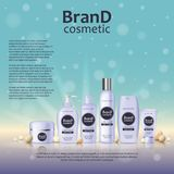 3D realistic cosmetic bottle ads template. Cosmetic brand advertising concept design on glowing background with pearls and sparkle. S Royalty Free Stock Photos