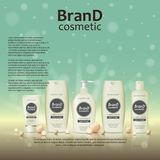 3D realistic cosmetic bottle ads template. Cosmetic brand advertising concept design on glowing background with pearls and sparkle. S Royalty Free Stock Photo