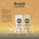3D realistic cosmetic bottle ads template. Cosmetic brand advertising concept design on glowing background with pearls and sparkle. S Stock Images