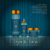 3D realistic cosmetic bottle ads template. Cosmetic brand advertising concept design with glowing sparkles on abstract texture bac. Kground Royalty Free Stock Photography