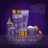 3D realistic cosmetic bottle ads template. Cosmetic brand advertising concept design with glowing sparkles on abstract texture bac. Kground Stock Image