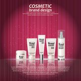 3D realistic cosmetic bottle ads template. Cosmetic brand advertising concept design with glowing sparkles on abstract texture bac Stock Photos