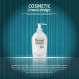 3D realistic cosmetic bottle ads template. Cosmetic brand advertising concept design with glowing sparkles on abstract texture bac Royalty Free Stock Images