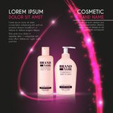 3D realistic cosmetic bottle ads template. Cosmetic brand advertising concept design with glowing sparkles and glitters abstract b Royalty Free Stock Photos