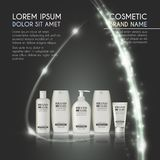 3D realistic cosmetic bottle ads template. Cosmetic brand advertising concept design with glowing sparkles and glitters abstract b Royalty Free Stock Images