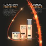 3D realistic cosmetic bottle ads template. Cosmetic brand advertising concept design with glowing sparkles and glitters abstract b Royalty Free Stock Image