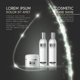 3D realistic cosmetic bottle ads template. Cosmetic brand advertising concept design with glowing sparkles and glitters abstract b Stock Photography