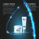 3D realistic cosmetic bottle ads template. Cosmetic brand advertising concept design with glowing sparkles and glitters abstract b Stock Image