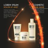 3D realistic cosmetic bottle ads template. Cosmetic brand advertising concept design with glowing sparkles and glitters abstract b Stock Photo