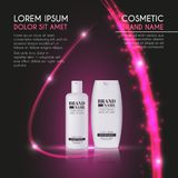 3D realistic cosmetic bottle ads template. Cosmetic brand advertising concept design with glowing sparkles and glitters abstract b Royalty Free Stock Photo