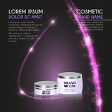 3D realistic cosmetic bottle ads template. Cosmetic brand advertising concept design with glowing sparkles and glitters abstract b Royalty Free Stock Photography