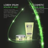3D realistic cosmetic bottle ads template. Cosmetic brand advertising concept design with glowing sparkles and glitters abstract b. Ackground Royalty Free Stock Photos