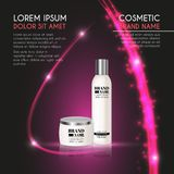3D realistic cosmetic bottle ads template. Cosmetic brand advertising concept design with glowing sparkles and glitters abstract b. Ackground Stock Photos