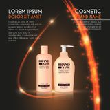 3D realistic cosmetic bottle ads template. Cosmetic brand advertising concept design with glowing sparkles and glitters abstract b. Ackground Stock Photography