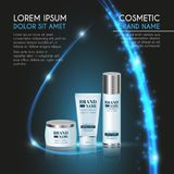3D realistic cosmetic bottle ads template. Cosmetic brand advertising concept design with glowing sparkles and glitters abstract b. Ackground Royalty Free Stock Photo