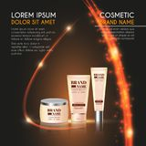 3D realistic cosmetic bottle ads template. Cosmetic brand advertising concept design with glowing sparkles and glitters abstract b. Ackground Stock Image