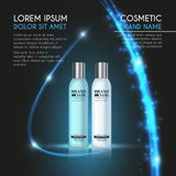 3D realistic cosmetic bottle ads template. Cosmetic brand advertising concept design with glowing sparkles and glitters abstract b. Ackground Stock Photo