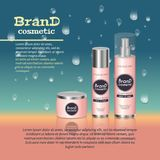 3D realistic cosmetic bottle ads template. Cosmetic brand advertising concept design with water bubbles and waterdrops background Royalty Free Stock Photos