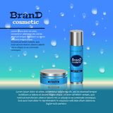 3D realistic cosmetic bottle ads template. Cosmetic brand advertising concept design with water bubbles and waterdrops background Royalty Free Stock Image