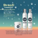 3D realistic cosmetic bottle ads template. Cosmetic brand advertising concept design with water bubbles and waterdrops background.  Stock Photography