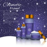 3D realistic cosmetic bottle ads template. Cosmetic brand advertising concept design on winter background with snowflakes.  Stock Images