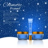3D realistic cosmetic bottle ads template. Cosmetic brand advertising concept design on winter background with snowflakes.  stock illustration
