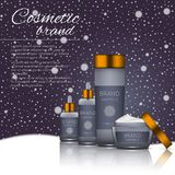 3D realistic cosmetic bottle ads template. Cosmetic brand advertising concept design on winter background with snowflakes.  Royalty Free Stock Image