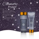 3D realistic cosmetic bottle ads template. Cosmetic brand advertising concept design on winter background with snowflakes.  Stock Photography