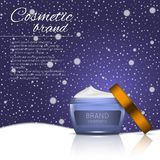 3D realistic cosmetic bottle ads template. Cosmetic brand advertising concept design on winter background with snowflakes.  Royalty Free Stock Photo