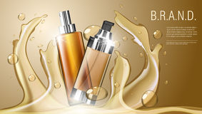 3D Realistic Cosmetic Product Spray Bottle Package Template. EPS10 Vector Stock Image