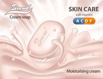 3d realistic cream soap on waves of water. Realistic moisturising cream soap on water with foam. Package sign for skin and body care product. 3d soap for spa and stock illustration